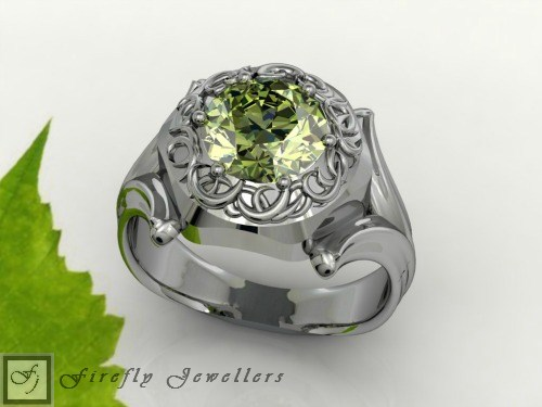 Antique sterling silver ring with Peridot Cubic Zirconia - F12L
