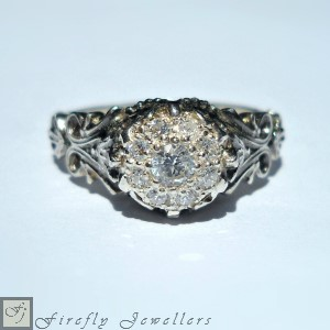 F12VC -  Pave diamond engagement ring with a Victorian feel - elegant and detailed .