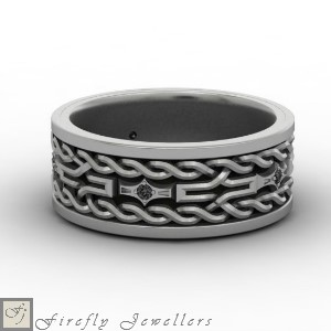 F11M - Men's wedding ring with black diamonds