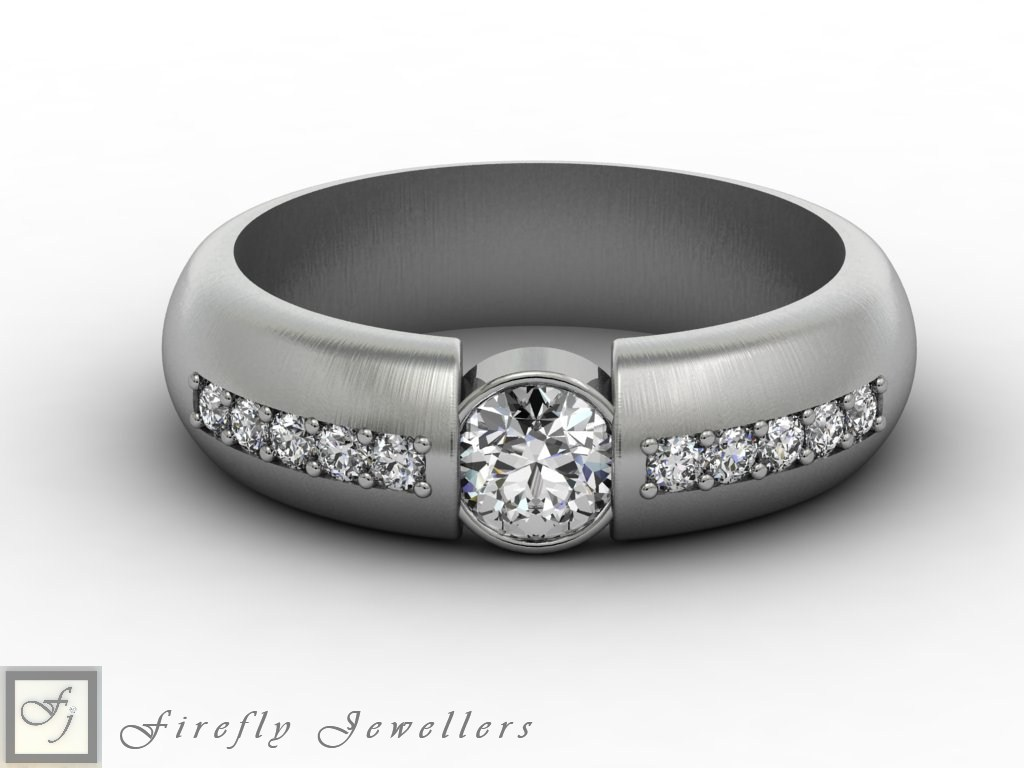 Diamond and white gold engagement ring - F60D