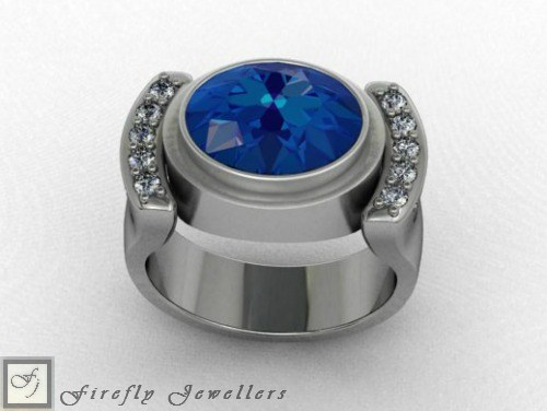 Oval ring with Tanzanite Cubic Zirconia - F39L