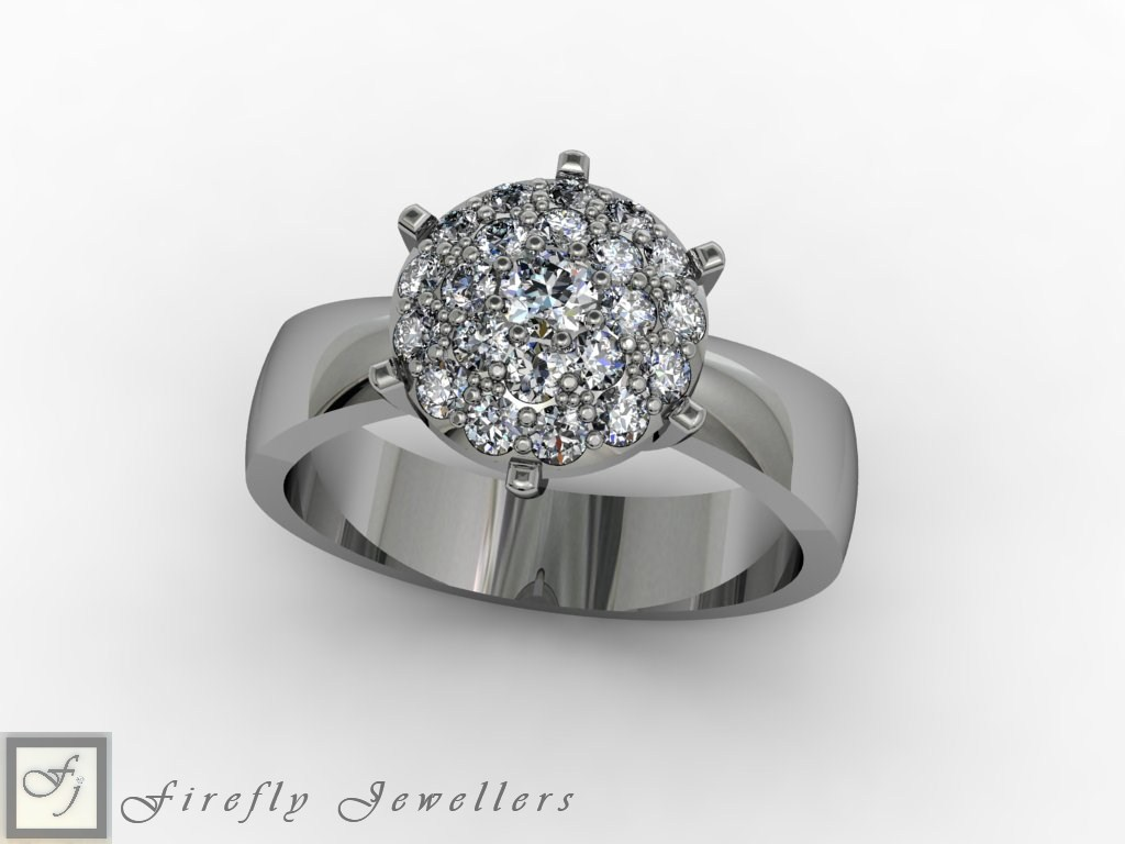Pave diamond ring in white gold - F57D