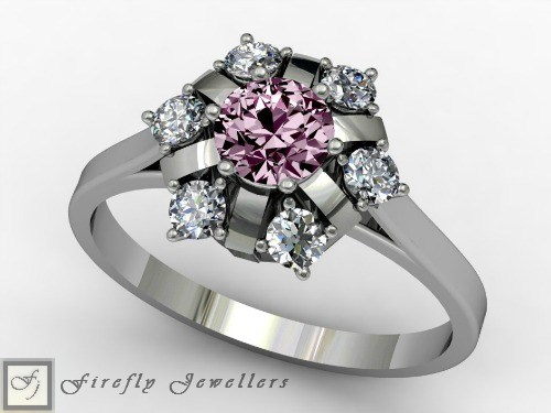 Pink sapphire engagement ring with diamonds. - F77L