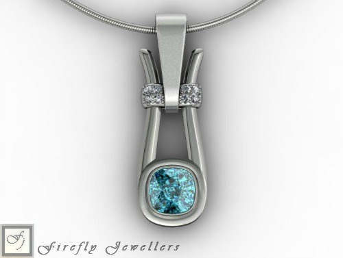 Sterling silver pendant with blue topaz  - N22L