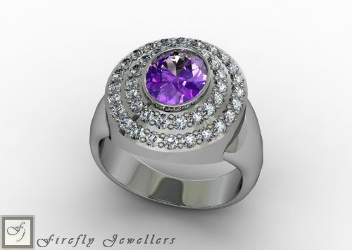 Sterling silver ring with Amethyst Cubic Zirconia - F33E