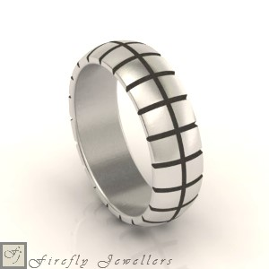 F16M solid silver men's wedding band