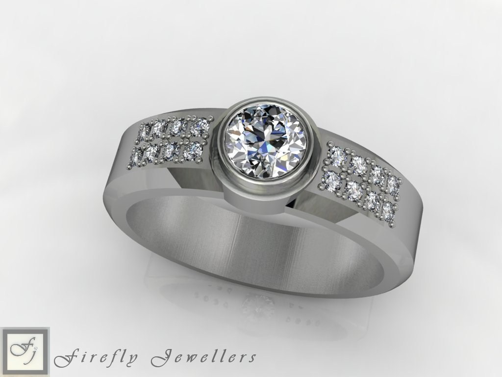 White gold diamond engagement ring - F62D