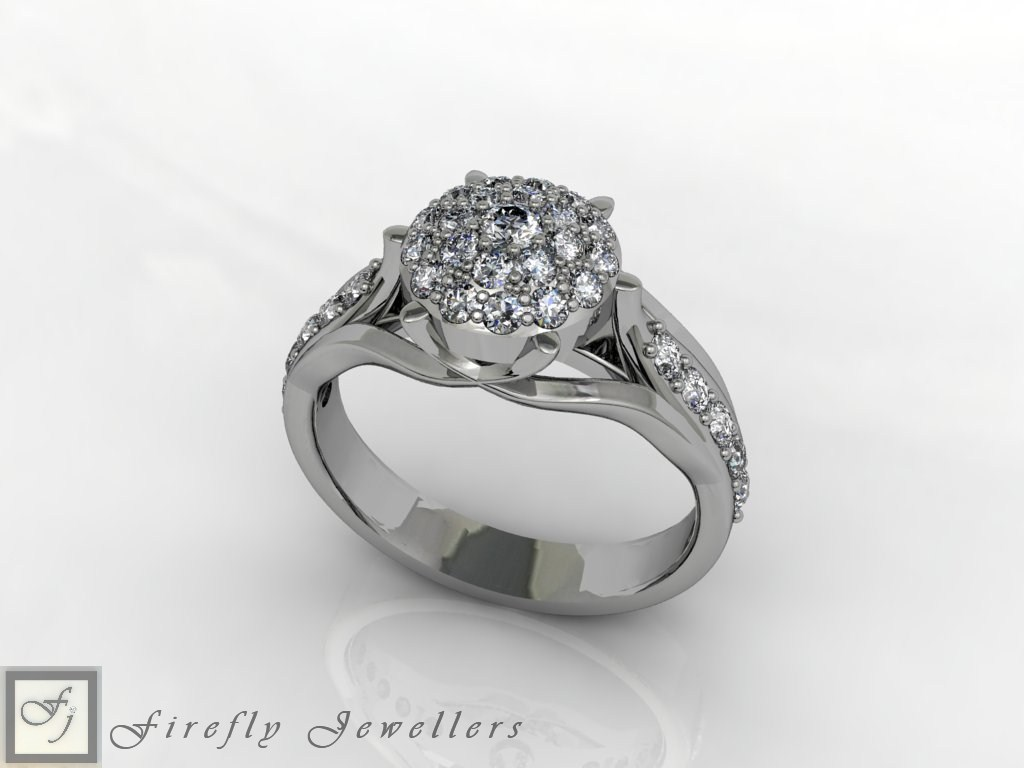 White gold pave diamond engagement ring - F58D