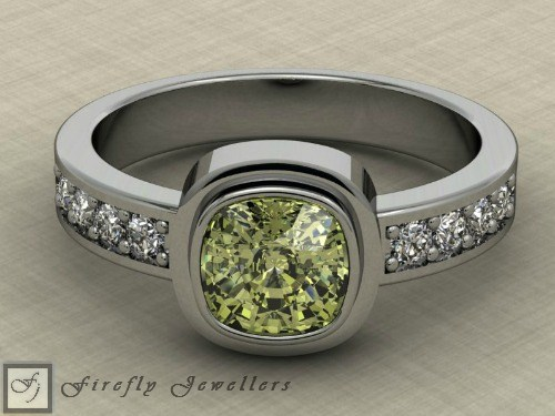 White gold peridot engagement ring - F72L