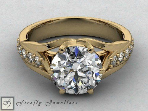 Yellow gold engagement ring with white topaz and diamonds - F28T