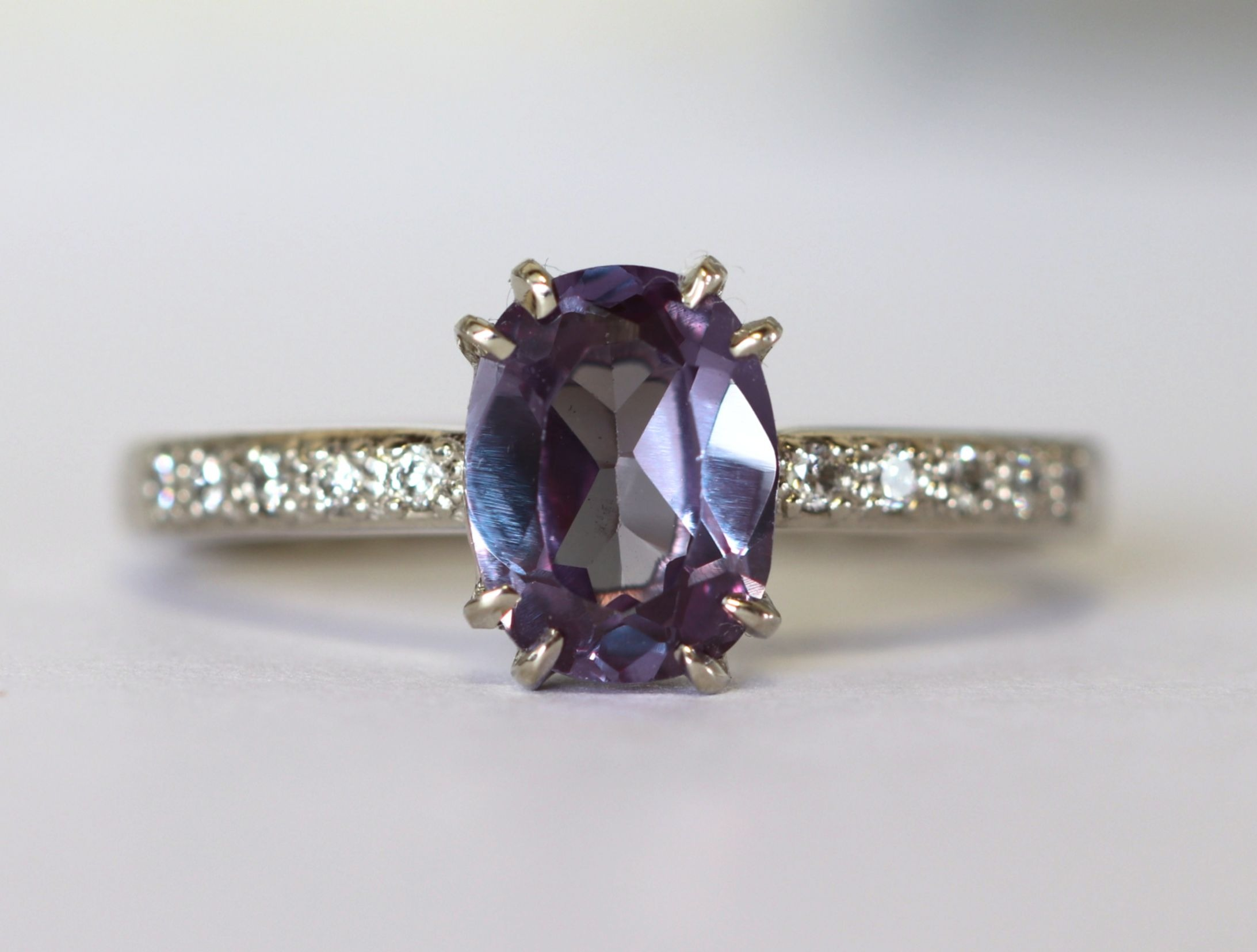 "Alexandrite engagement ring - ""Twilight"" setting"