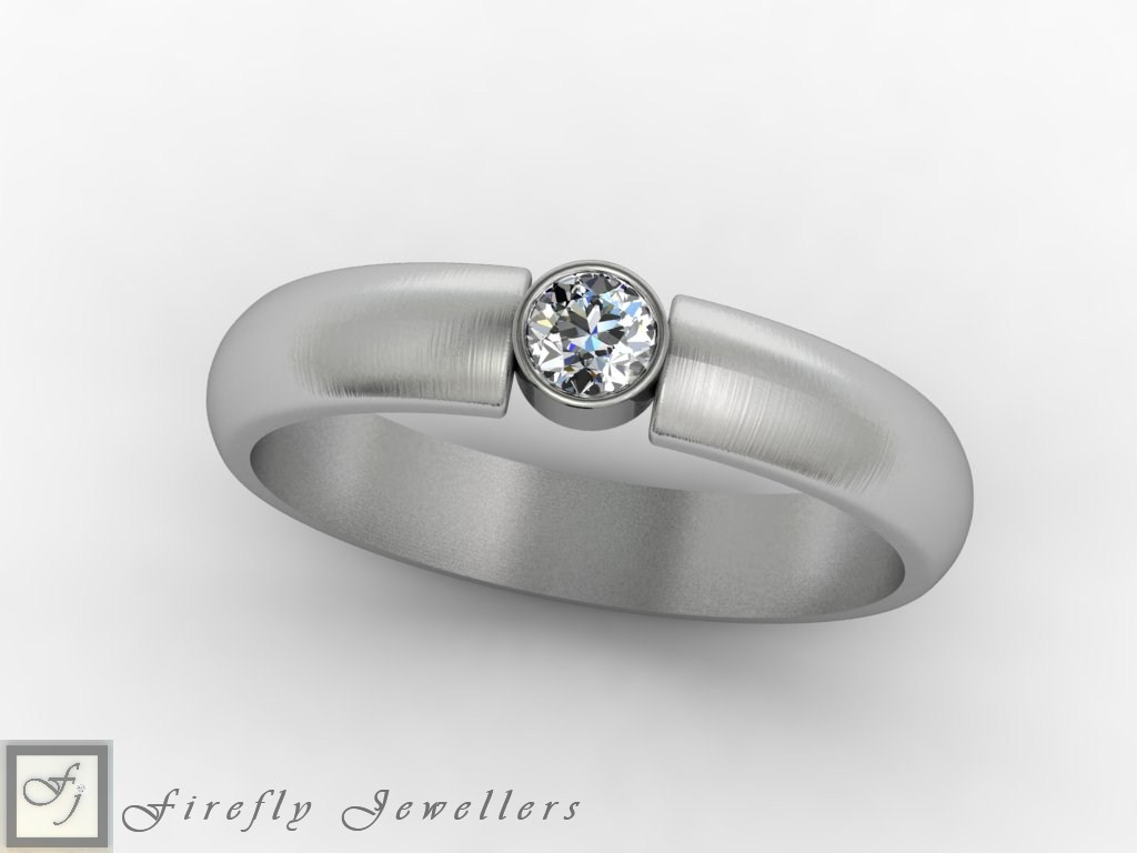 9kt White gold single diamond engagement ring - F48D
