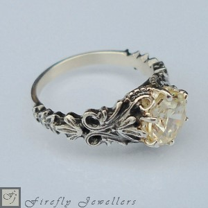F12V - Elegant and detailed  engagement ring with a Victorian feel