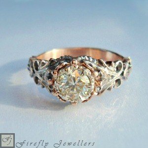 F12VI - Antique style rose gold engagement ring