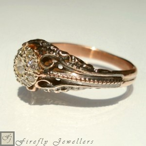 F11VC -  Rose gold pave diamond engagement ring with an antique feel.