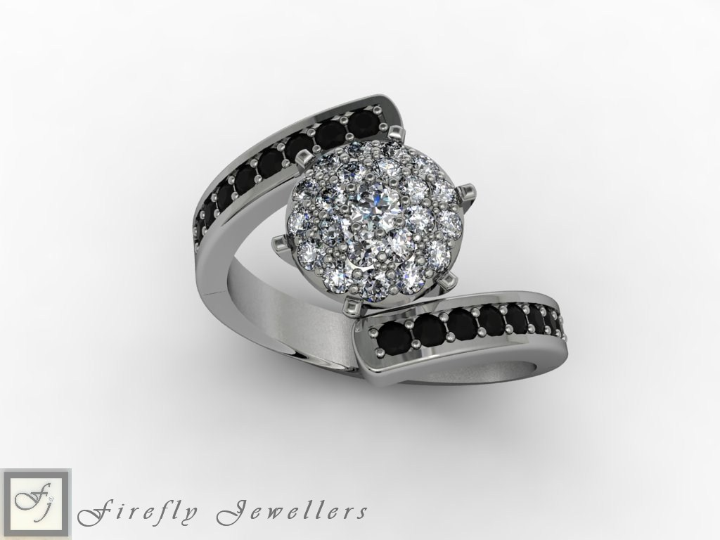 Black and white diamond engagement ring - F59D