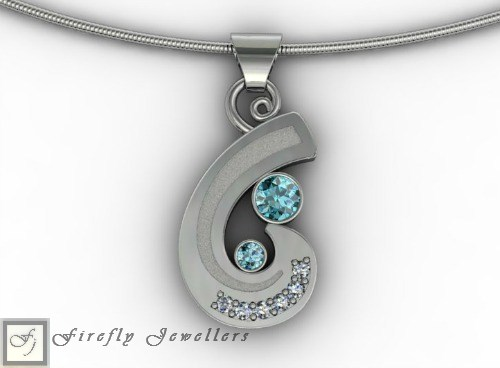 Blue topaz and sterling silver pendant - N20L