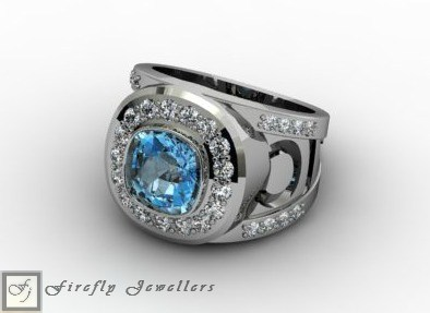 Blue Topaz ring in sterling silver - F13L