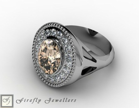 Champagne ring in sterling silver - F15L
