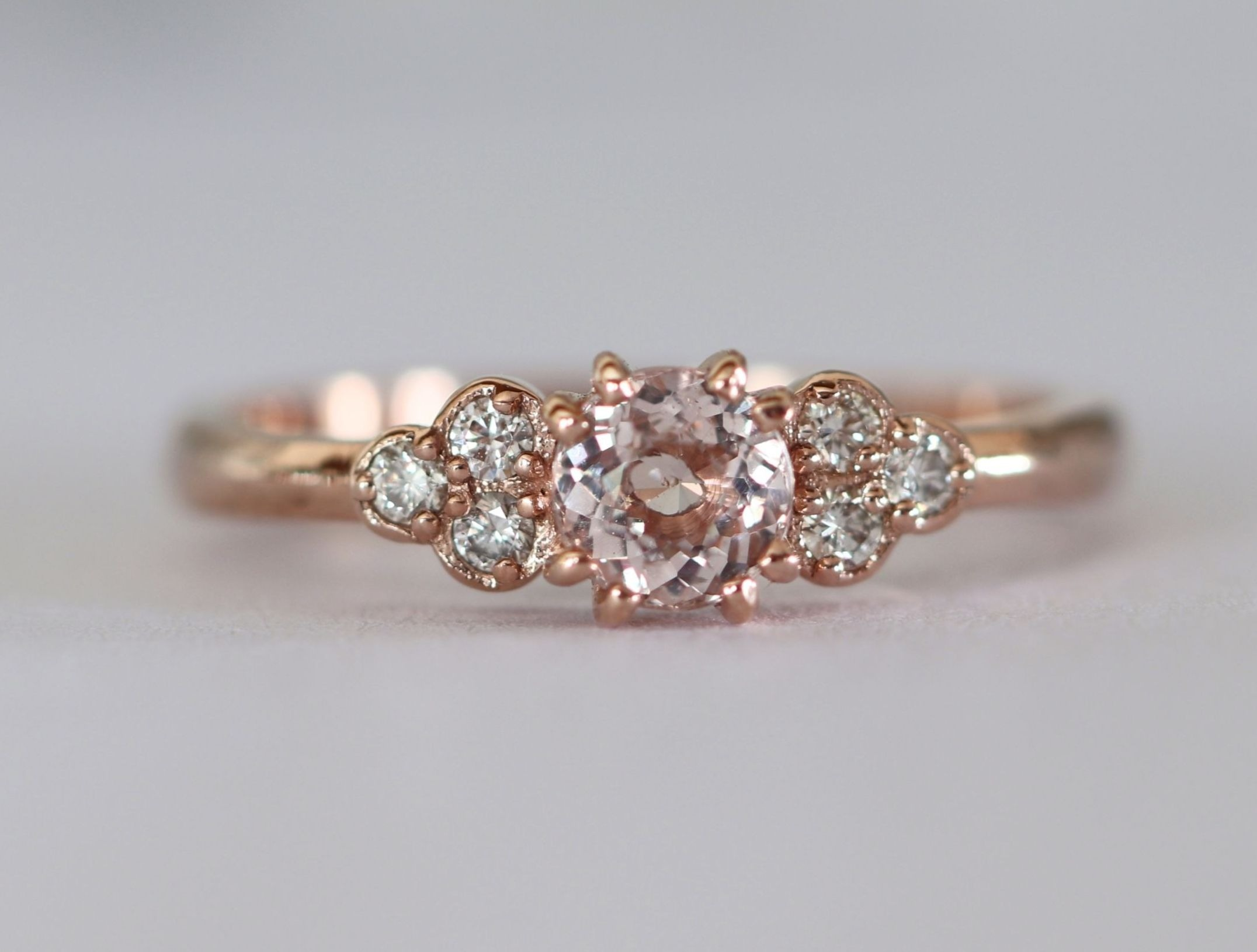 "Dainty Morganite and diamond ring - ""Fleur"" setting"