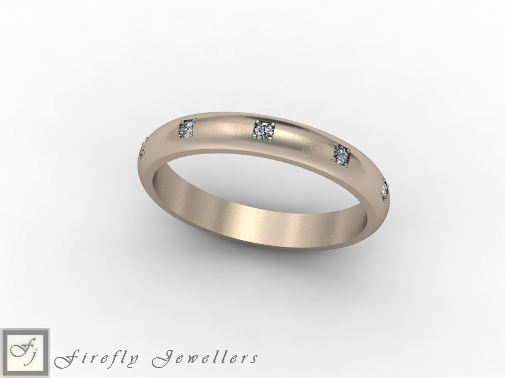 Diamond wedding band in white gold - F45D