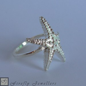 Sterling silver starfish ring - F66S