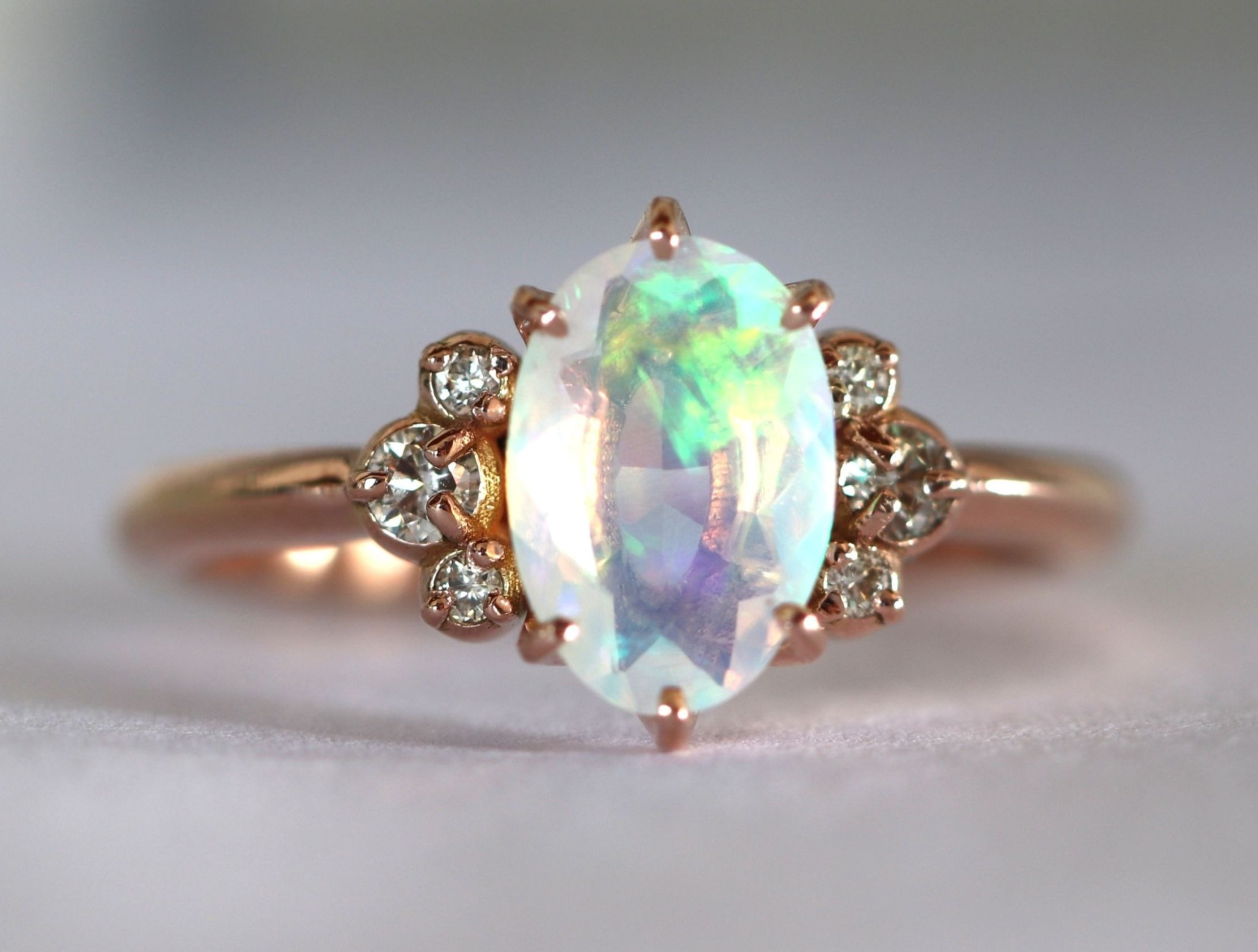 "Opal rose gold engagement ring - ""Ariel"" setting"