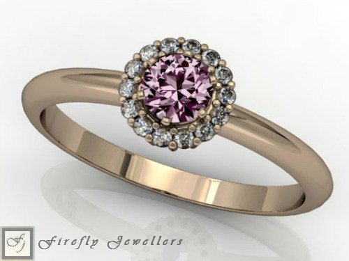 Pink Sapphire halo engagement ring - F52D2