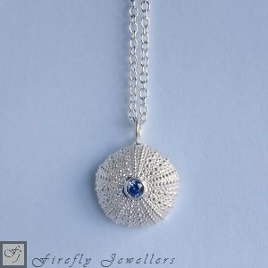 Silver sea urchin pendant with gemstone - N12P