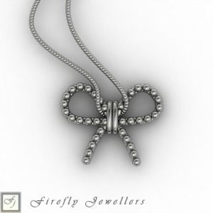 Sterling silver bow necklace - N12B