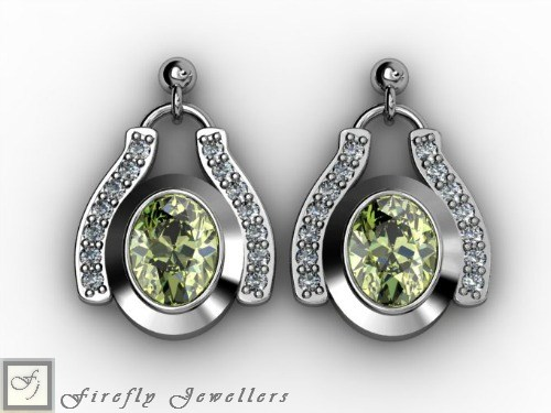 Sterling silver earrings with Peridot Cubic Zirconia - E12L
