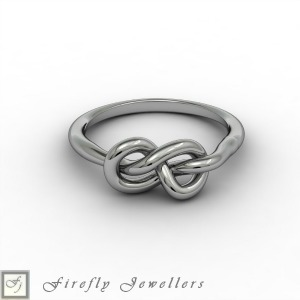 Solid sterling silver knot ring - F11B