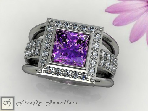 Sterling silver ring with Amethyst - F26T