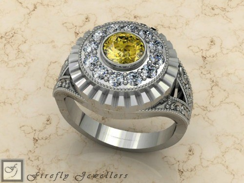 Sterling silver ring with yellow gemstone - F14L