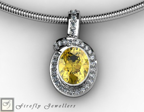 Yellow gemstone necklace in sterling silver - N17E