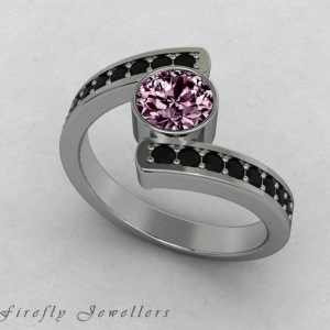 F25T3 Pink Sapphire and black diamond ring g1